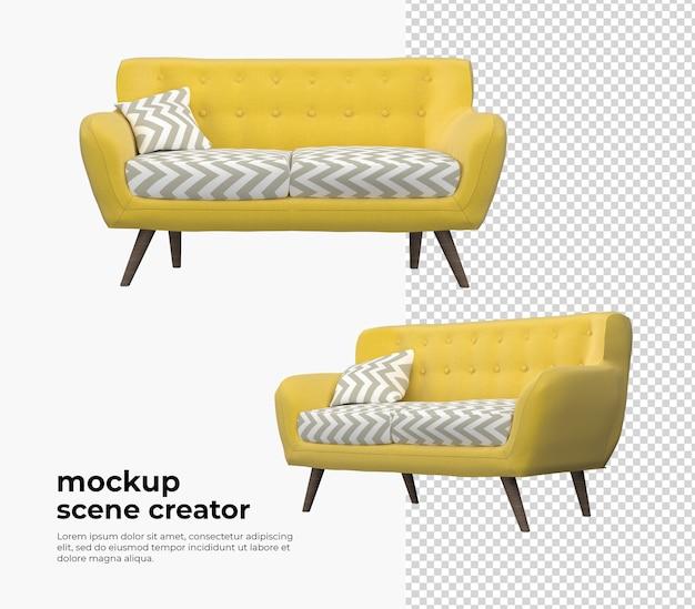 Желтый диван в 3d-рендеринге с современным декором