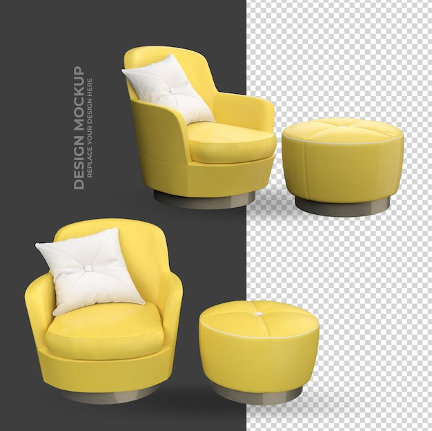 Yellow sofa interior decoration rendering