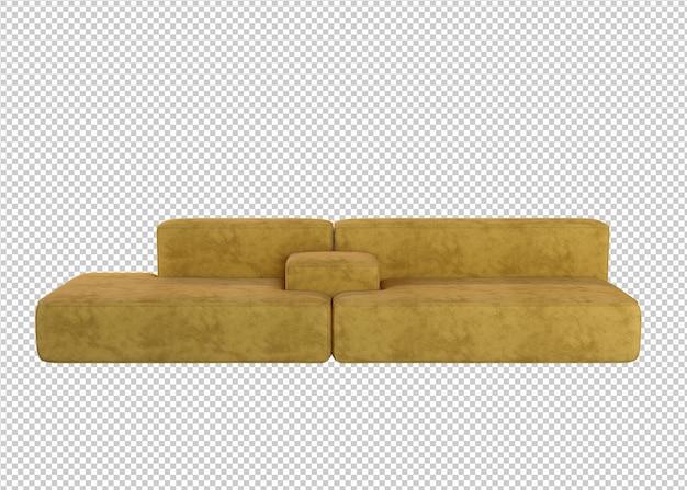 흰색 배경에 고립 된 노란색 소파