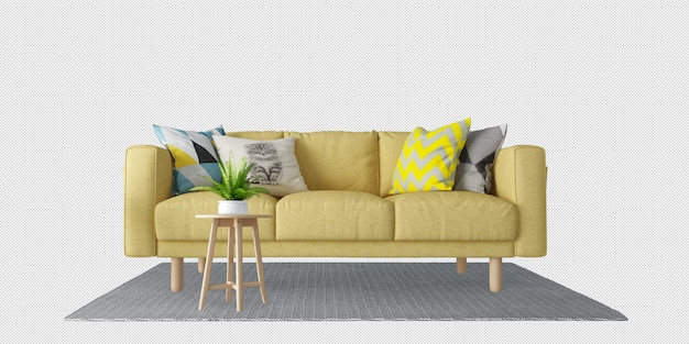Yellow sofa and pillows in 3d rendering