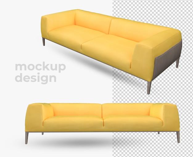 노란색 소파 렌더링 장식 3d 디자인