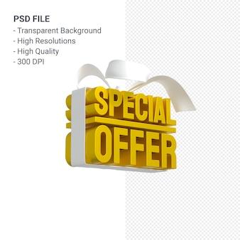 Желтое специальное предложение для продажи 3d-рендеринга для продажи с белым бантом и лентой
