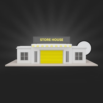 Yellow store house 3d