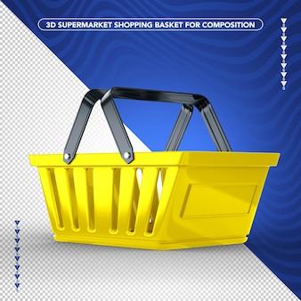 黄色のスーパーマーケット側の買い物かごのデザイン