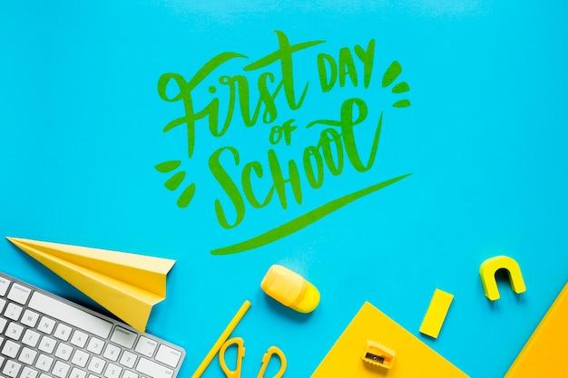 Желтые припасы на первый день в школе Бесплатные Psd
