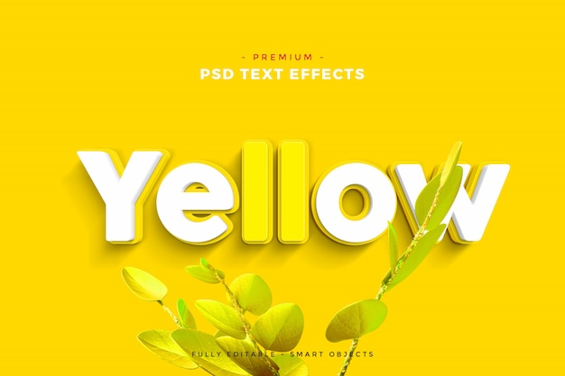 Yellow text effect mockup