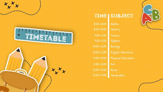 Yellow timetable for school template