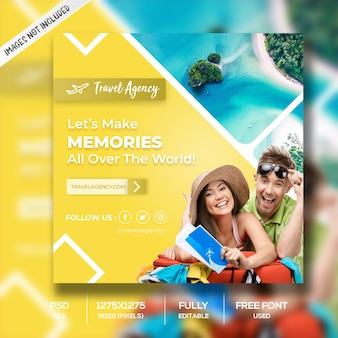 Yellow travel square banner template