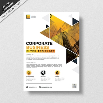 Yellow triangular abstract geometry design flyer template