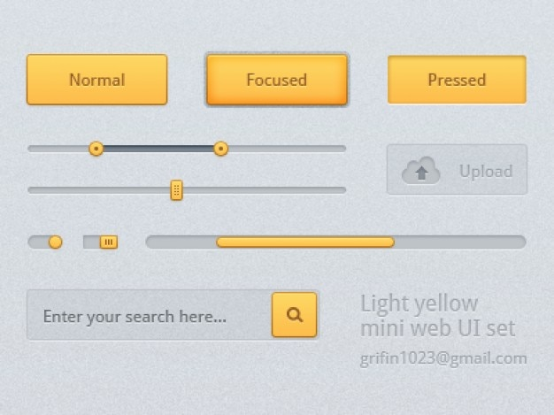 Yellow user interface kit psd