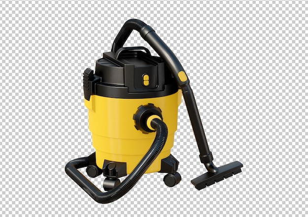 Yellow vacuum cleaner isolated on white background. 3d rendering