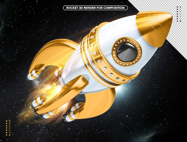 Yellow and white realistic 3d rocket flying overhead
