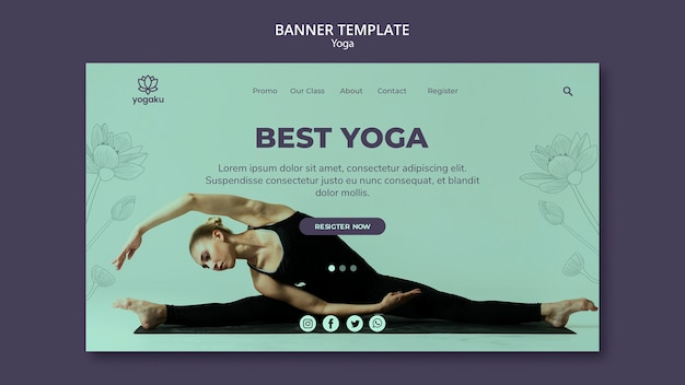 Yoga banner template concept