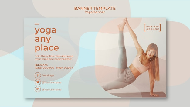 Йога баннер шаблон концепции