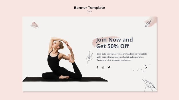 Yoga banner template with discount