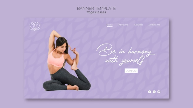 Yoga banner with woman
