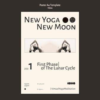 Шаблон плаката бесцветный дизайн класса йоги