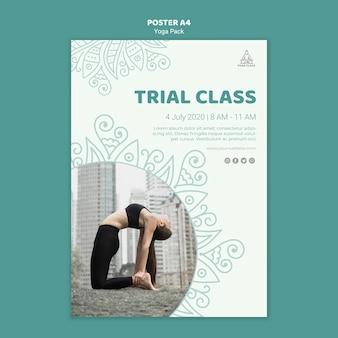 Йога класс плакат шаблон концепция