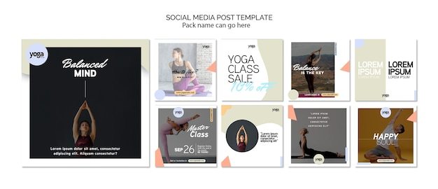 Yoga class social media post template