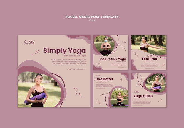 Modello di post sui social media del corso di yoga