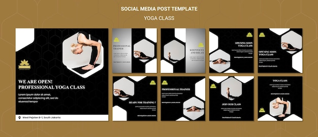 Yoga classes social media posts template