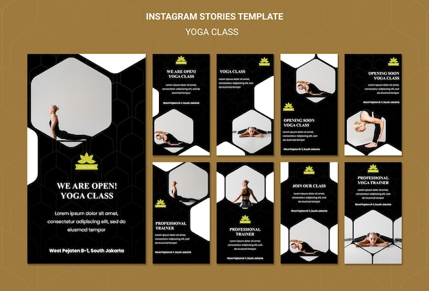 Yoga classes social media stories template