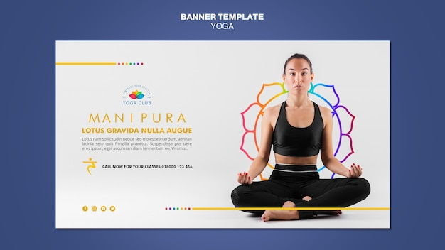 Шаблон баннера концепции йоги