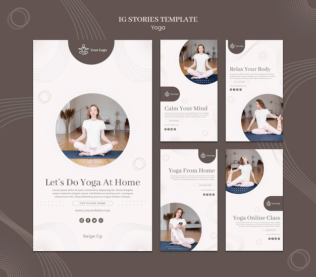 Yoga concept instagram stories template
