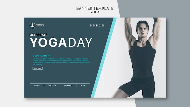 Yoga day class and man dancing banner template
