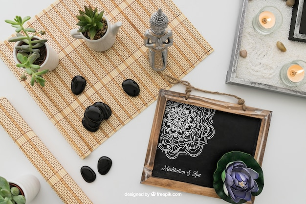 Yoga decoration with drawing on chalkboard