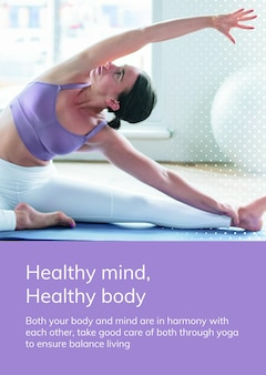 Yoga exercise template psd for healthy lifestyle for ad poster