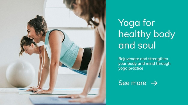 Yoga exercise wellness template psd for healthy lifestyle presentation