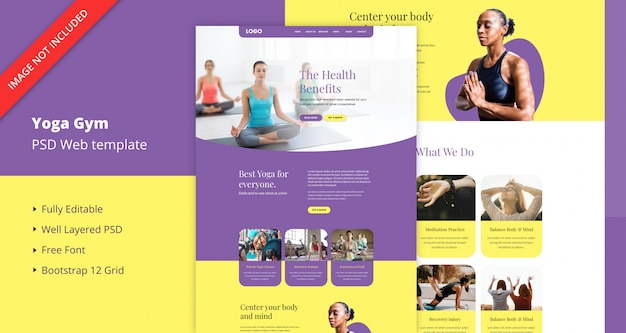 Шаблон сайта для тренажерного зала йоги