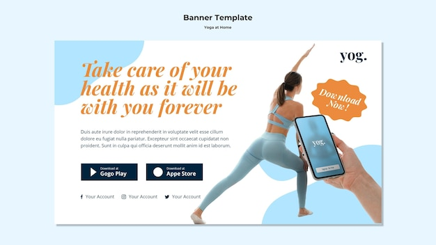 Yoga at home banner template