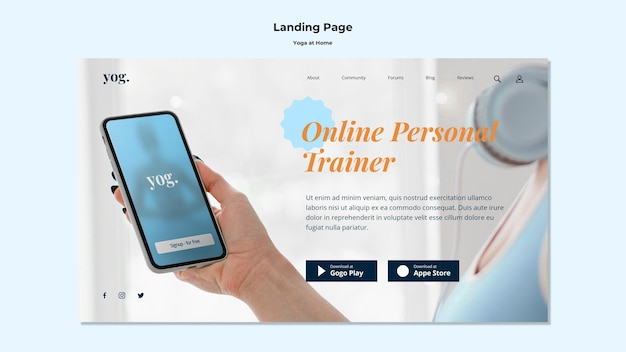 Yoga at home landing page
