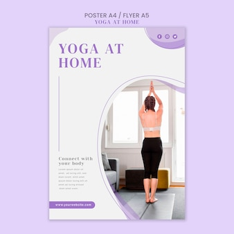 Yoga at home poster template