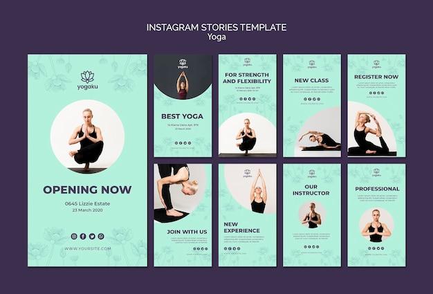 Yoga instagram stories template concept