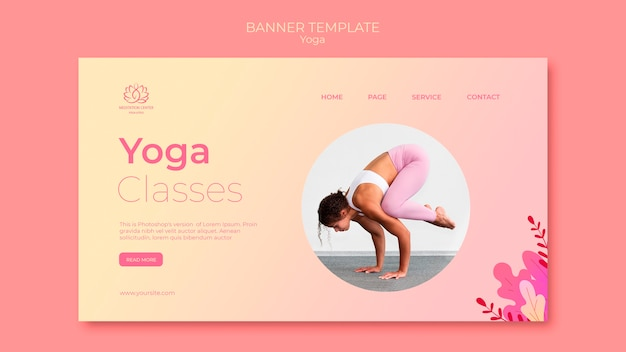Yoga lessons banner template with photo of woman