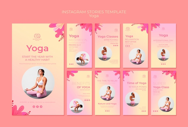 Yoga lessons instagram stories template