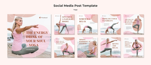 Yoga and meditation instagram posts template