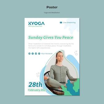 Modello di poster di yoga e meditazione
