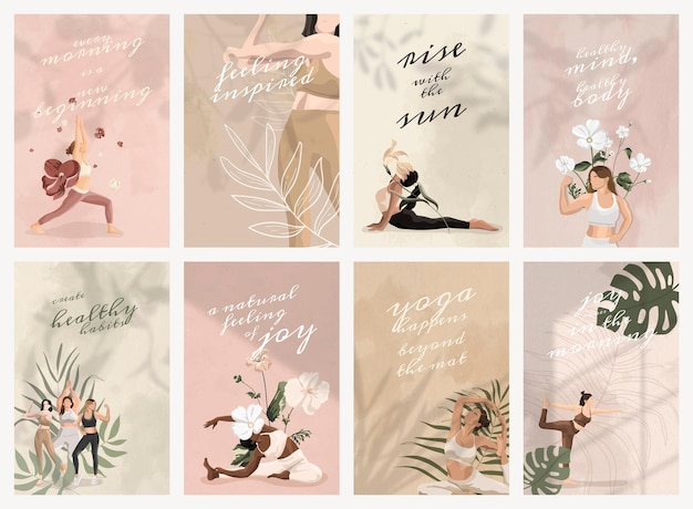 Yoga and mind quote psd template for social media post collection