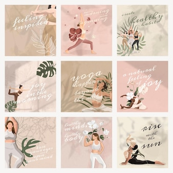 Yoga and mind quote psd template for social media post set