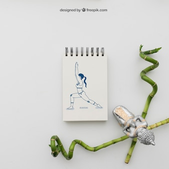 Yoga pose drawing with bamboo sticks