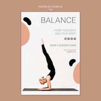 Yoga poster with woman exercising