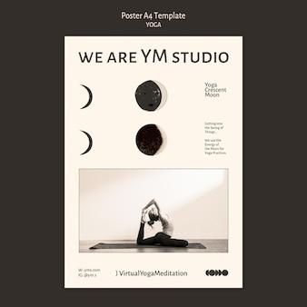 Шаблон бесцветного плаката практики йоги