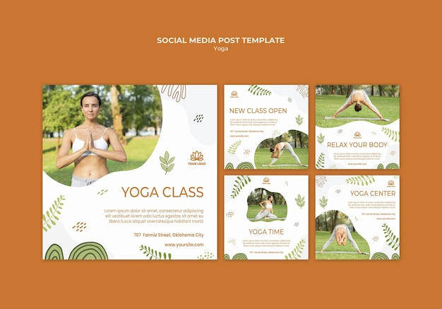 Modello di post sui social media di yoga