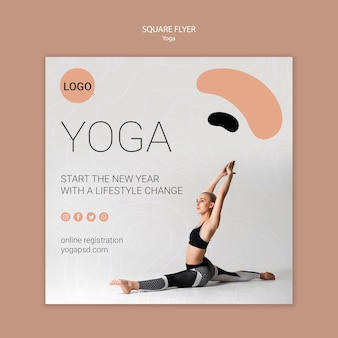 Yoga square flyer with girl stretching