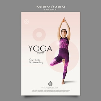 Йога студия флаер шаблон концепции