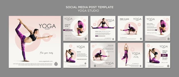 Modello di post di social media studio yoga